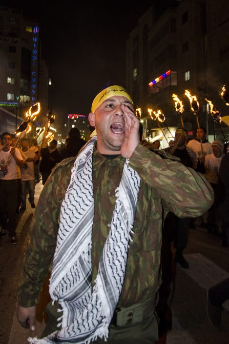 coro di un manifestante a Ramallah in Palestina